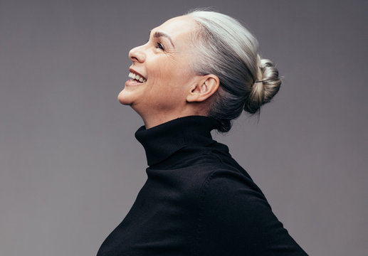 Senior woman looking happy