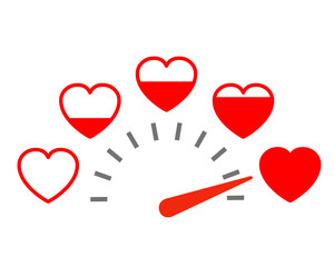 Measuring love icon. Valentine's Day card design element with set hearts – stock vector