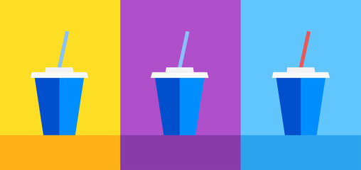 Icon of Blue plastic cup with Coke or Ice Tea on Yellow, violet and blue background. Vector illustration for decoration of Cafe menu or Web site.