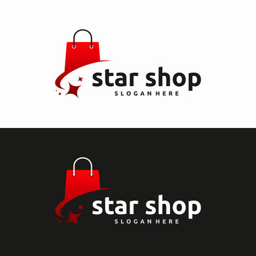Star Shop logo designs concept vector, Shopping Bag logo template