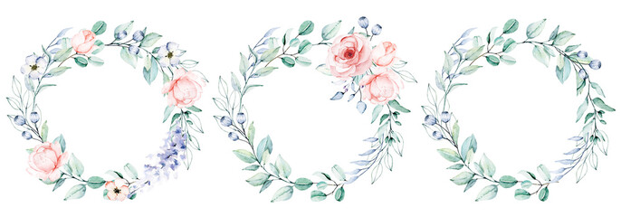Watercolor flower and leaf wreath. Floral clip art. Frame perfectly for print on wedding invitation, greeting card, wall art, stickers and other. Isolated on white background. Hand paint design.  Fototapete