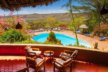 Africa. Kenya. Park Masai Mara. National Reserve Masai Mara. African lodge. Veranda with a view of the savannah. Tours to Kenya. Travel to Africa. Wall mural