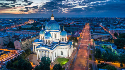 Saint Petersburg. Russia. Trinity Cathedral in St. Petersburg. Evening Izmailovsky Cathedral. St. Petersburg temples. Evening panorama of Saint Petersburg. Russian cities. Petersburg architecture.