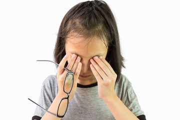 Asian little girl holding eyeglasses and rubbing her eyes,cute child feeling discomfort and fatigue,tired after long wearing spectacles,eyesight problem,isolated on white background
