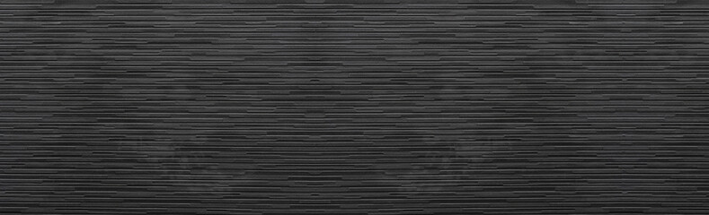 Panorama of Black modern brick wall texture and background seamless