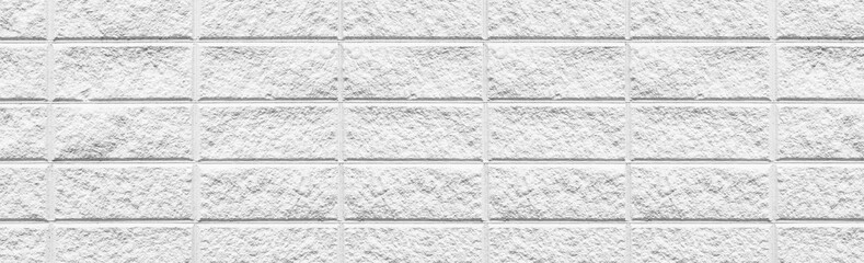 Panorama of White modern brick wall texture and background seamless