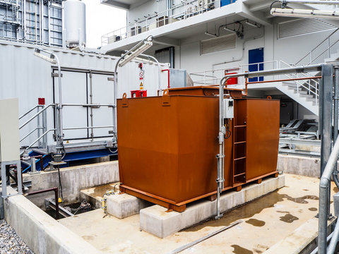 Tank of diesel generator systems for backup electric power in Combined-Cycle Co-Generation Power Plant.