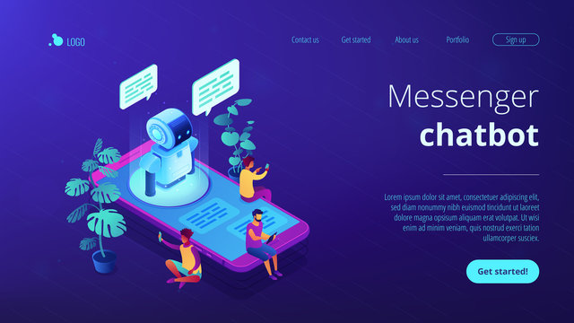 Users with digital gadgets sitting on smartphone screen and chatting with chatbot. Social media bots, messenger chatbot, auto reply software concept. Isometric 3D website app landing web page template