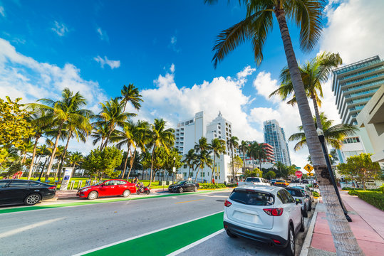 Cloudy sky over Collins Avenue in South Beach