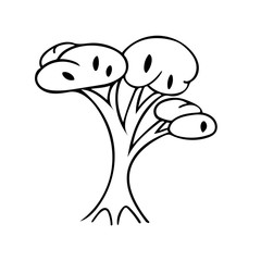 Hand drawing black and white tree. Cartoon style