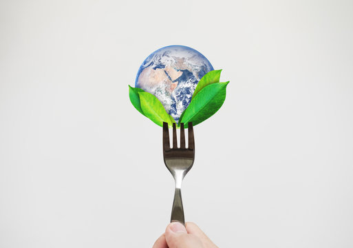 Green food, environmental concept. Hand holding fork with leaves and globe. Element of this image are furnished by NASA