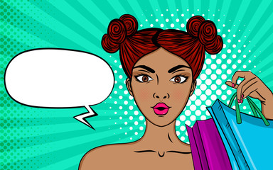 Sexy surprised woman with shopping bags, big sales.Vector colorful background in pop art retro comic style.