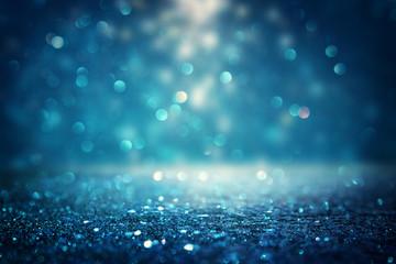 Fototapete - glitter vintage lights background. black and blue. de-focused