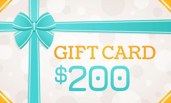 Gift Card, gift voucher - 200 dollars