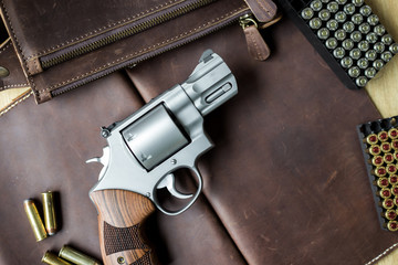 Revolver .44 magnum gun with jacket soft point (JSP) 240 grain bullet
