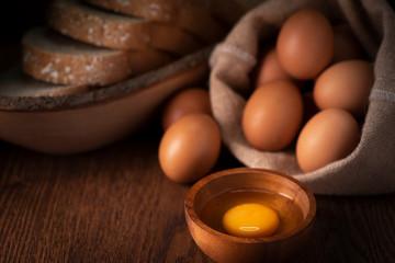 fresh chicken eggs, studio shot