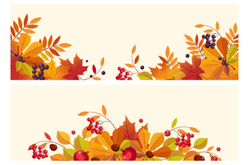 Thanksgiving background with space for text, horizontal banners with autumn leaves and berries vector Illustration Wall mural