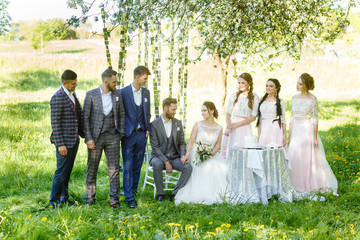 Wedding day bride and groom with bridesmaids and groomsmen posing in garden. wedding newlyweds couple with best friends. People drink champagne and hugging.