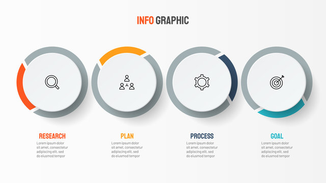 Vector infographic label design template with marketing icons. Business concept with 4 options.