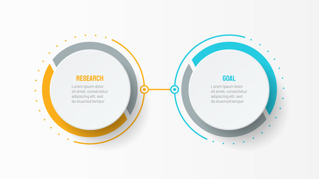 Vector infographic design template with 2 options or steps.  Can be used for process diagram, workflow layout, info graph, annual report,  flow chart.