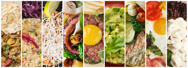 Collage delicious meals assortment, restaurant menu composition