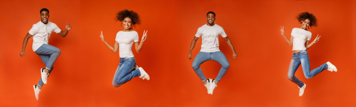 Collage of cheerful black man and woman jumping on orange