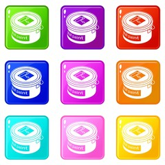 Wall paint bucket icons set 9 color collection isolated on white for any design