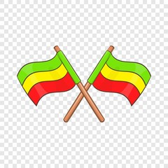 Rastafarian crossed flags icon in cartoon style isolated on background for any web design