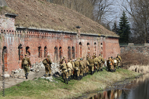 Reconstruction of the assault battle Fort number five in Konigsberg
