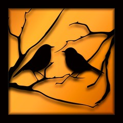 Birds on branches black silhouette on yellow background vector illustration paper cut.