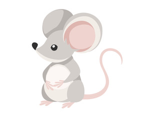 Cute little gray mouse sit on floor. Cartoon animal character design. Flat vector illustration isolated on white background