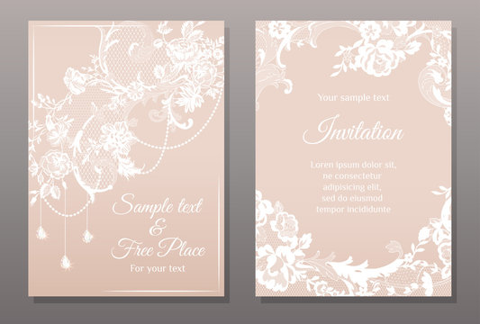 invitation card in romantic lace style