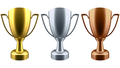 Set Winner cup on white background. 3d rendering