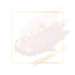 Pastel rose and pink brush strokes and gold lines in rectangle. Gold glitter foil texute contour frame. Antique vintage decoration .