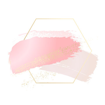Vector brush stroke elements in foil texture and hand drawn rose pink  splashes in Hexagon frame. Beautiful advertising light  watercolor card. Nude pastel graphics.
