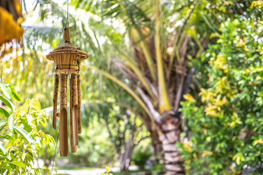 Wind chime made of bamboo