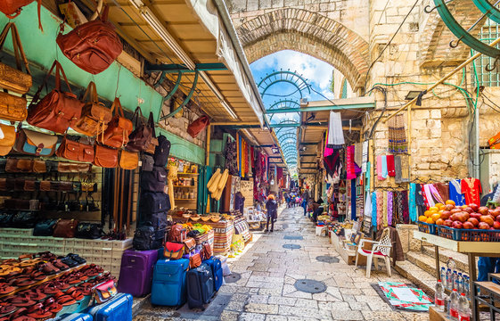 View of souvenir market in old city Jerusalem, Israel