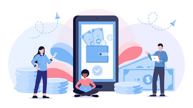Mobile wallet vector illustration. Flat persons concept with money transfer from cash to smartphone application. Pay using wireless technology transaction. Modern customer finance deposit account