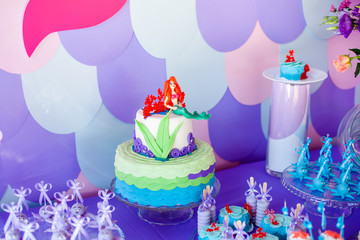 Mermaid theme cake with colorful glitter tails, shells and sea creatures toppers for children's, teen's, novelty birthday and party celebrations