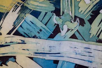 Obraz Abstract brushstrokes, fragment, hot batik, background texture, handmade on silk,  surrealism art - fototapety do salonu