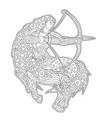 Black and white zen art with sagittarius