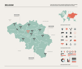 Vector map of Belgium .  High detailed country map with division, cities and capital Brussels. Political map,  world map, infographic elements.