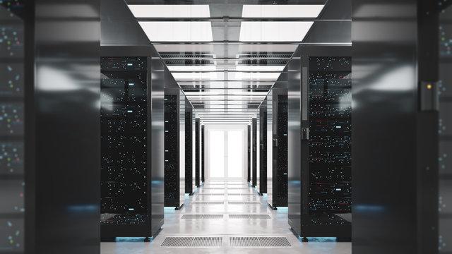 Backup cloud data service center. 3D rendering