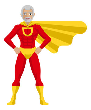 A mature superhero cartoon mascot man in his red and yellow super hero costume compete with cape in a flat modern cartoon style