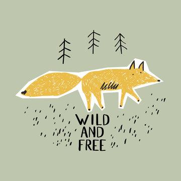 Cute fox in the forest. T-shirt graphics for kids vector illustration. Scandinavian design. Fir forest and fox.
