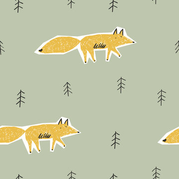 Childish seamless pattern with cute fox and forest. Vector texture in childish style great for fabric and textile, wallpapers, backgrounds.