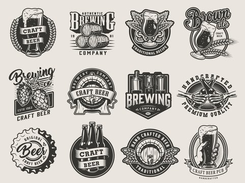 Vintage monochrome beer designs collection