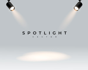 Two modern spotlights realistic transparent background for show contest or interview.Illuminated effect form projector, projector for studio. Minimalistic lamp. Place. vector illustration eps 10