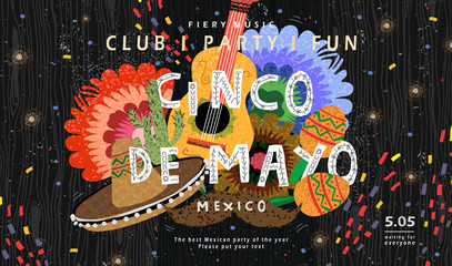 Cinco de mayo! Vector illustration for mexican holiday, concept for banner, cover, poster, or party flyer. Drawings of guitar, sombrero, maracas, cactus and flowers