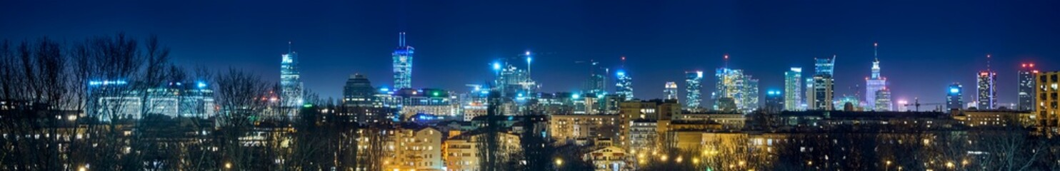 Beautiful, amazing panoramic view of Warsaw (Poland) with skyscrapers and a Palace of Culture and...